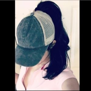 High ponytail distressed grayish green trucker cap